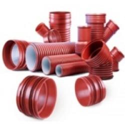 PVC lauko nuotekų gofruoti vamzdžiai ir jungtys