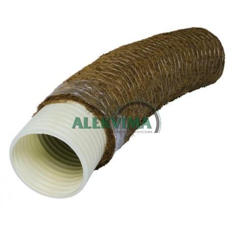 PVC drenažo vamzdis su kokoso plaušo filtru 128 / 113 mm (50m)