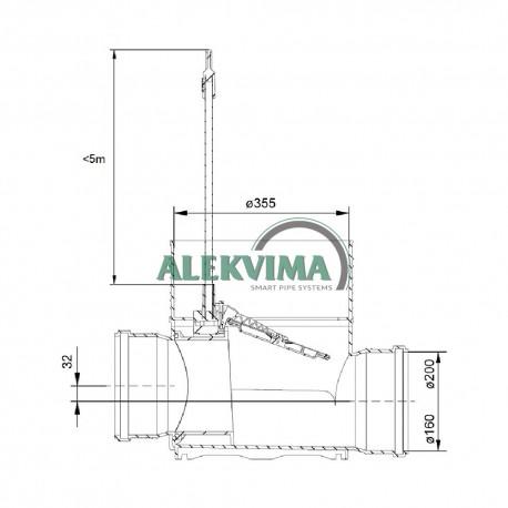 Dugnas - kinetė šulinio stovui 315 / 160 mm - su atbuliniu vožtuvu