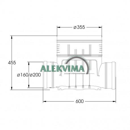 Dugnas - kinetė šulinio stovui 315 / 200 mm - tiesi