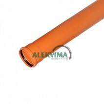 PVC lauko nuotekų vamzdis 110 / 1000 mm 1m
