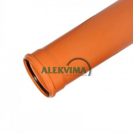 PVC lauko nuotekų vamzdis 160 / 3000 mm 3m monolitinis